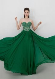 Chandail En Mousseline De Soie Vert Foncé Pas Cher-2015 Sexy Vert foncé Robes de bal sweetheart sans dossier Pleat perlée Voir au travers corsage en mousseline de soie Parti longue robes de Homecoming