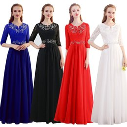 Barato Vestido De Noite Vermelho Marfim-Meias mangas Chiffon Lace A Line Long Evening Dresses 2018 Royal Blue Red Ivory Black Dress Formal