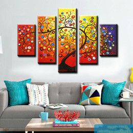 Cheap Large Abstract Canvas Art NZ - 5 pieces large cheap modern Landscape canvas art abstract coloring magic autumn tree canvas painting decorative wall art for room t5p2