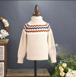 Barato Coreano Miúdos-Everweekend Girls Wave Knit Sweater Cute Baby Bege e Brown Color Tees Lovely Kids Coreano Moda Outono Tops