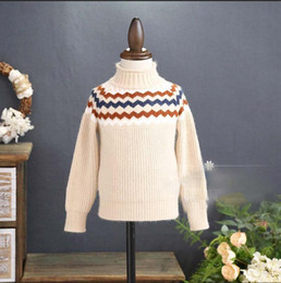 Suéteres De La Onda Baratos-Everweekend Girls Wave Knit Sweater Lindo bebé Beige y marrón Color Tees Lovely Kids Korean Fashion Autumn Tops