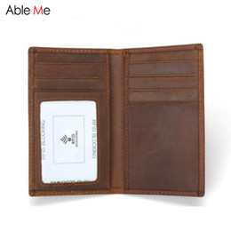 Business Card Holder Magnetic Canada - Custom Name Crazy horse Leather card holder wallet anti-magnetic RFID card holder purse men business Multi Card holders