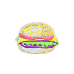 China 10 PCS Hamburger Patches for Clothing Bags Iron on Transfer Applique Snack Patch for Garment DIY Sew on Embroidery Badge cheap hamburger bags suppliers