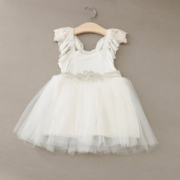 preppy clothing Canada - Summer Girl Princess Dress Lace Sleeveless with Crystal Belt Cotton Dress Kids Preppy College Style Dresses Children Clothes White KB022