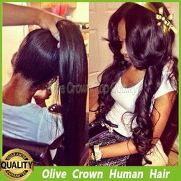 Half Lace Wig Brazilian Hair Canada - Lace Front Wig Brazilian Human Hair Body Wave Glueless Full Lace Wigs Virgin Human Hair Unprocessed 1b# Long Wavy Lace Wig Middle Part