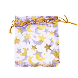 Discount golds express - Wholesale-25PCs 7x9cm Purple Gold Star&Moon Organza Gift Jewelry Bags Wedding Christmas Favor (Over $110 Free Expres