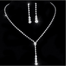 cheap bridesmaids accessories NZ - Cheap Crystal Bridal Jewelry Set silver plated necklace diamond earrings Wedding jewelry sets for bride Bridesmaids women Bridal Accessories