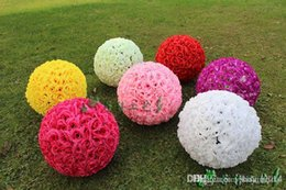 Venta al por mayor de 13.5 CM / 4 pulgadas de cifrado de seda Rose Flower Kissing Balls bola colgante Adornos de Navidad Wedding Party Decoratio
