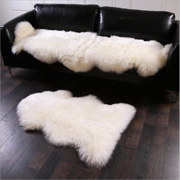 24*35Inch Artificial Sheepskin Hot Pink Hairy Carpets Bedroom Mat Living  Room Skin Fur Plain Fluffy Area Rugs Washable Mats