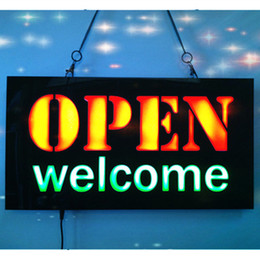 bright neon signs 2019 - Wholesale-new OPEN WELCOME LED Neon Sign WhiteBoard LED Business OPEN SIGN Animated Motion DISPLAY +On Off Switch Bright