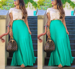 93ccc710b6 Faldas largas de gasa plisada para las mujeres de moda de verano de cintura  alta maxi faldas por encargo Green Beach Girls Party falda