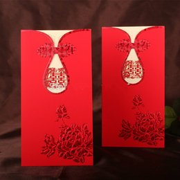 Barato Cartões De Casamento Do Estilo Chinês-Atacado 20 PCS / LOT Laser Cut Wedding Invitation Cards KIT Chinês STYLE Peony Cheongsam Supplies Blank Inner