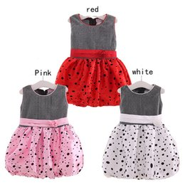 Discount red white baby dresses - 3 Color Girls Lace flower dot Lantern Dress new princess Girls fashion sleeveless Lace dress baby clothes B001