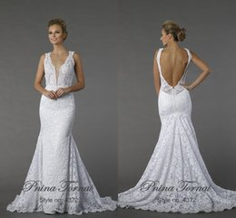 Robe De Sirène De Dentelle De Pnina Tornai Pas Cher-2015 Sexy Backless Lace Mermaid Robes de mariée White Deep V Neck sans manches Sweep Train Robes de mariée en dentelle Robe Pnina Tornai Client Made
