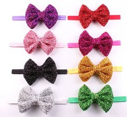 baby gold shiny headbands girls boutique hair bows children fashion hair  accessories kid big bow head wraps elastic bands christmas headwear 333aaf7a70b5
