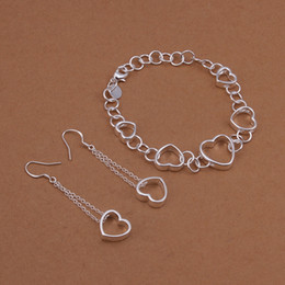 Hanging Copper Earrings NZ - High grade 925 sterling silver Hanging piece hollow bracelet earrings jewelry sets DFMSS427 brand new Factory direct sale wedding 925 silver