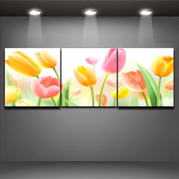 Chinese  3 Piece Art Sets Dreamy Tulip Flower Picture Print on Canvas Painting Home Office Hotel Wall Art Decor manufacturers