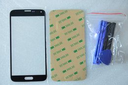 Lcd Glass For Galaxy S5 Canada - Black Outer Glass for Samsung Galaxy S5 LCD Touch Screen Digitizer Front Glass Lens i9600 Free Tools 3M Sticker