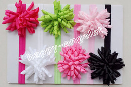 Curly hair baby girl online shopping - 100pcs Girl Boutique Solid Korker curly Ribbon Hair clips bows Elastic Iridescent headband baby corker hair bands Christening hair ties PD01