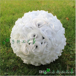 wholesale silk white rose ball NZ - Hot 25 CM 10 Inch Artificial White Rose Silk Flower Kissing Balls Hanging Ball For Christmas Ornaments Wedding Party Decorations Supplies