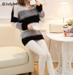 Barato Casaco De Mole Longo Das Mulheres-New Jumper Tricô Mulheres Sweat Pullover Loose Mohair Long Sleeve Thick Solid Coat Mulheres Thick Stripe Sweater