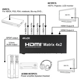 hdmi 2k Australia - Freeshipping 4K*2K 3D 1080P V1.4 HDMI Matrix 4x2 with Remote Control 4 In 2 out HDMI Switch Switcher Splitter for XBOX DVD PS3 PS4 Projector