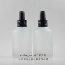 Black Frosted Cosmetic Bottles Wholesale Canada - 200ml clear transparent frosted Glass lotion bottle with black aluminum pump,cosmetic packing,cosmetic bottle,packing for liquid