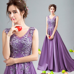 $enCountryForm.capitalKeyWord Canada - Sexy Backless Lilac 2017 Evening Dresses V-neck Beaded Lace A-line Satin Prom Dresses Vingtage Cheap Formal Party Gowns