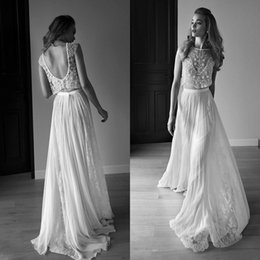 line bateau chiffon lace 2019 - Lihi Hod 2016 Gorgeous Wedding Dresses Two Pieces Jewel Neck Beaded Top Lace Chiffon Beach Backless Bridal Gowns BO8005