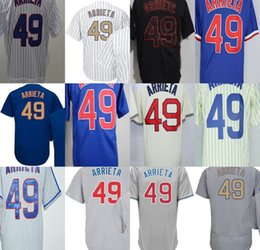 Negro 5xl Baratos-2017 Custom Mens Womens Kids Toddlers Chicago 49 Jake Arrieta Black Blue Cream gris blanco barato bordado Top venta jerseys de béisbol