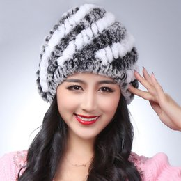 Discount real rabbit fur hats - Wholesale- 100% natural real rex rabbit fur cap lady winter naturalfur hat high quality women warm Beanies free shipping