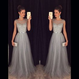 Barato Comprar Vestido Azul Royal-2018 Grey Long Evening Dresses Beaded Tulle Sequin A linha Vestido formal Long Dress Vestidos vestidos de baile Compra direto da China