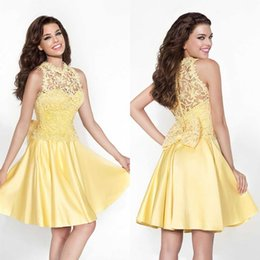 Tarik Ediz Robe En Cristal Tulle Pas Cher-Tarik Ediz 2015 col haut en dentelle courte Mini robes de bal jaune Graduation Robes de cocktail en satin Bow Knot Mini Dressed