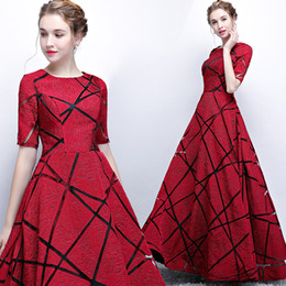 Line Short Dresses Sleeves Red NZ - Fashion Cheap 2017 Arabic Evening Dresses Crew Short Sleeves A-line Satin Prom Dresses Elegant Simple Formal Party Bridesmaid Gowns