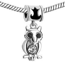 European Chamilia Biagi Charm Bracelets Canada - Factory sale Rhodium plating black enamel owl Dangle Charm European DIY bead fit Pandora Chamilia Biagi bracelet