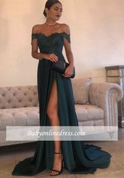 Barato Vestidos Sexy De Linha Verde-Cheap Sexy Dark Green Lace Prom Dresses fora do ombro High Side Split Court Train Satin Backless Formal Evening Party Gowns Custom Made
