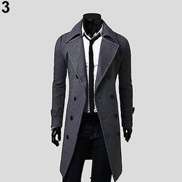 Button trench coat men online shopping - Men Winter Stylish Slim Double Breasted Trench Coat Long Jacket Outwear Overcoat