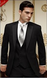 black suit ivory waistcoat NZ - 2015 Hot Sale Groom Tuxedos Notch Satin Lapel Groomsmen Men Wedding Suits Groom Tuxedos(Jacket+Pants+Tie+Waistcoat) q171