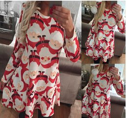 Discount Christmas Print Dresses Plus Size | 2017 Christmas Print ...