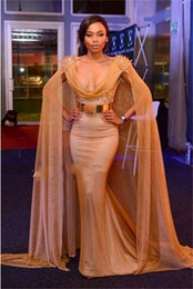 plus size fashion belts 2019 - Hot! Gorgeous Mermaid Evening Dresses with Long Cloak 2016 Sexy Mermaid Prom Dress with Long Wrap V Neck Gold Belt Party