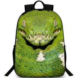 snake sport UK - Green snake backpack Viper picture daypack Terrible printing schoolbag Leisure rucksack Sport school bag Outdoor day pack