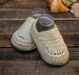 $enCountryForm.capitalKeyWord Australia - Egg shell white and olive green baby boy hand crocheted booties, crocheted baby snickers, crochet baby shoes 0-12M customize