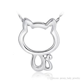 Chinese  925 sterling silver items crystal jewelry wedding pendant necklaces vintage hello kitty diamante cat shaped charms manufacturers