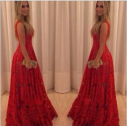 Barato Vestido Casual Sem Manga Vermelha-New Fashion Long Maxi Lace Dress Mulheres sem mangas Vintage Red Evening Party Vestidos vestido de festa Casual Dress new chegar grátis shipp