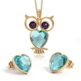 mix colors stones necklace 2019 - New Arrival Pop Style One Set Gold Stainless Steel Deep purple Blue opals stone vivid owl Necklace Pendant & Hearts Earr