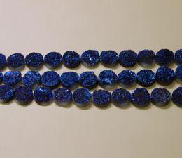 $enCountryForm.capitalKeyWord NZ - 10mm 15.5inch 1Strand Titanium Blue Druzy Agate Beads Natural Gem stone Crystal Quartz Drusy Agate Necklace Pendant Jewelry Make Connector