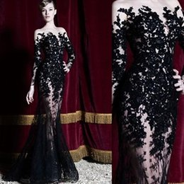 Barato Zuhair Renda Preta-2018 Black Hot Zuhair Murad Vestidos de noite Manga comprida Lace Sheer Mermaid Prom Dresses Vestidos de festa Long Dubai Arab Formal Dresses