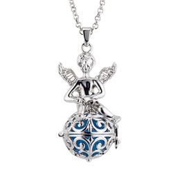 Pregnancy Chime Pendant Canada - Pregnancy Ball Baby Chime Necklace The hollow ball angels with wings harmony pregnant ball women necklace pendant