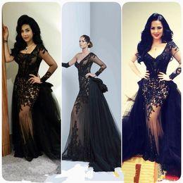 elie saab 2019 - 2016 Vintage Black Arabic Evening Dresses Asymmetric Neck Long Sleeve Lace Appliques with Tulle Overskirt Elie Saab Cele