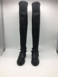42733de8afb Round Flat Long Tube Elastic Boots Black Ladies Flat Heel Shoes Sexy Black Leather  Thigh Boots High Boots Lady Flat Booties
